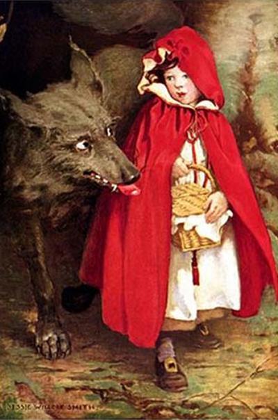 [ Girl meets the wolf, Jessie Willcox Smith (1911) ]