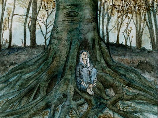 [ A single massive oak, © 2021 Cécile Matthey ]