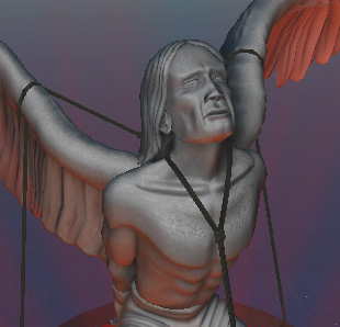 [ Angel restrained (photograph Djibril; original art © 2007 Hadrian York Holdings) ]