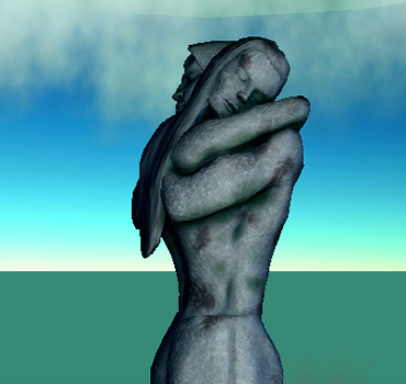 [ In her arms (photograph Djibril; original art © 2007 Hadrian York Holdings) ]